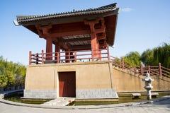 Ασία κινέζικα, Πεκίνο, κήπος EXPO, παλαιό κτήριο, περίπτερο, Στοκ φωτογραφία με δικαίωμα ελεύθερης χρήσης