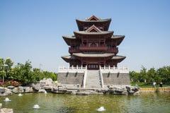 Ασία κινέζικα, Πεκίνο, κήπος EXPO, παλαιό κτήριο, περίπτερο Wenchang Στοκ Φωτογραφίες