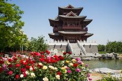 Ασία κινέζικα, Πεκίνο, κήπος EXPO, παλαιό κτήριο, περίπτερο Wenchang Στοκ Εικόνα