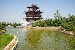 Ασία κινέζικα, Πεκίνο, κήπος EXPO, παλαιό κτήριο, περίπτερο Wenchang Στοκ φωτογραφία με δικαίωμα ελεύθερης χρήσης
