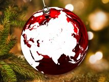 Ασία στη σφαίρα Χριστουγέννων στοκ φωτογραφία με δικαίωμα ελεύθερης χρήσης