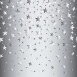 Ασημένια αστέρια σε ένα ασημένιο άνευ ραφής υπόβαθρο με μια κλίση επίσης corel σύρετε το διάνυσμα απεικόνισης Στοκ φωτογραφία με δικαίωμα ελεύθερης χρήσης