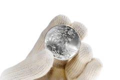 Ασημένια επένδυση νομισμάτων ράβδου, αμερικανικός αετός Στοκ Φωτογραφία