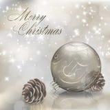 Ασημένια ευχετήρια κάρτα Χαρούμενα Χριστούγεννας απεικόνιση αποθεμάτων