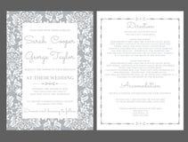 Ασημένια κάρτα γαμήλιας πρόσκλησης με τις διακοσμήσεις Διανυσματική απεικόνιση