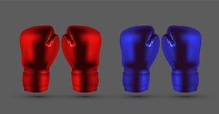 Ασημένια και μαύρα εγκιβωτίζοντας γάντια που απομονώνονται στο γκρίζο αφηρημένο backgro ελεύθερη απεικόνιση δικαιώματος