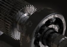 Ασημένια και μαύρα ρουλεμάν και cogwheel στο Μαύρο στοκ εικόνες