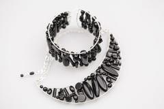 Ασημένια κοσμήματα με τις πέτρες onyx Στοκ εικόνες με δικαίωμα ελεύθερης χρήσης