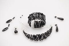 Ασημένια κοσμήματα με τις πέτρες onyx Στοκ Εικόνα