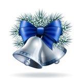 Ασημένια κουδούνια με την μπλε κορδέλλα Στοκ Εικόνες