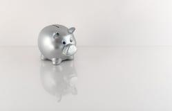 Ασημένια μεταλλική τράπεζα Piggy με την αντανάκλαση Στοκ φωτογραφία με δικαίωμα ελεύθερης χρήσης