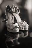 Ασημένια παπούτσια γυναικών Στοκ Φωτογραφίες