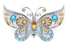 Ασημένια πεταλούδα με τους ηλέκτρινους πολύτιμους λίθους Στοκ Εικόνες