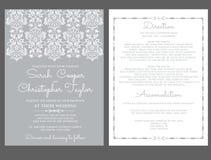 Ασημένια πρόσκληση καρτών γαμήλιας πρόσκλησης με τις διακοσμήσεις Διανυσματική απεικόνιση