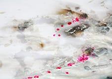 Ασημένια ρόδινα κτυπήματα, ζωηρό υπόβαθρο κρητιδογραφιών watercolor, σύσταση Στοκ εικόνα με δικαίωμα ελεύθερης χρήσης