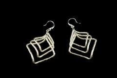 Ασημένια σκουλαρίκια με τα κρύσταλλα Στοκ Φωτογραφία