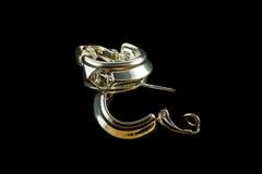 Ασημένια σκουλαρίκια με τα κρύσταλλα Στοκ φωτογραφία με δικαίωμα ελεύθερης χρήσης