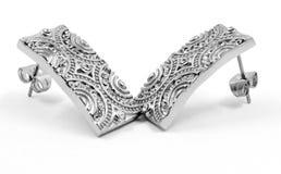 Ασημένια σκουλαρίκια με τα κρύσταλλα Στοκ εικόνες με δικαίωμα ελεύθερης χρήσης