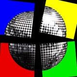 Ασημένια σφαίρα disco σε τέσσερις επιτροπές πέρα από το Μαύρο Στοκ Εικόνες