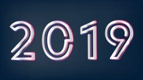 Ασημένια Χριστούγεννα έτους του 2019 νέα στο σκοτεινό ράστερ υποβάθρου απεικόνιση αποθεμάτων