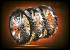 Ασημένια cogwheels σε ένα πορτοκάλι Στοκ εικόνα με δικαίωμα ελεύθερης χρήσης