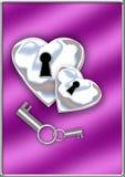 Ασημένιες καρδιές κλειδαριών διανυσματική απεικόνιση