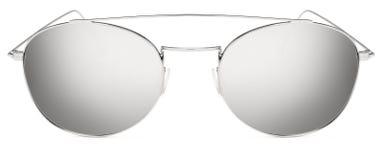 Ασημένιοι φακοί καθρεφτών γυαλιών ηλίου γκρίζοι που απομονώνονται στο άσπρο backgroun Στοκ Φωτογραφία