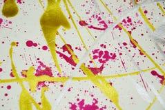 Ασημένιοι χρυσοί κόκκινοι παφλασμοί Watercolor, αφηρημένο δημιουργικό υπόβαθρο χρωμάτων Στοκ εικόνες με δικαίωμα ελεύθερης χρήσης