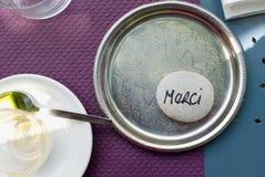 Ασημένιος δίσκος γευμάτων Merci στοκ εικόνες