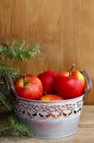 Ασημένιος κάδος των κόκκινων μήλων Στοκ Εικόνες