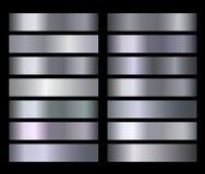 Ασημένιος μπλε μεταλλικός, χαλκός, χρυσός, διανυσματικές κλίσεις σύστασης φύλλων αλουμινίου μετάλλων χρωμίου διανυσματική απεικόνιση