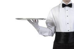 ασημένιος σερβιτόρος δίσ& Στοκ Φωτογραφίες