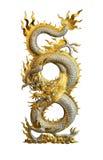 Ασημένιος χρυσός δράκος που απομονώνεται στην άσπρη πορεία ψαλιδίσματος υποβάθρου στοκ φωτογραφίες με δικαίωμα ελεύθερης χρήσης
