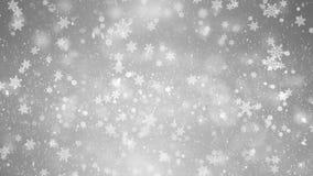 Ασημένιο άσπρο snowflakes χιονιού loopable υπόβαθρο πλαισίων απεικόνιση αποθεμάτων