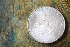 Ασημένιο αμερικανικό νόμισμα αετών Στοκ Εικόνες