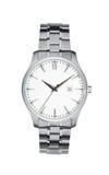Ασημένιο απομονωμένο wristwatch λευκό με το ψαλίδισμα της πορείας Στοκ φωτογραφία με δικαίωμα ελεύθερης χρήσης