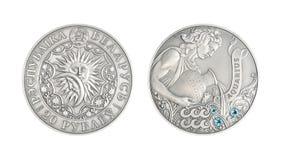 Ασημένιο αστρολογικό σημάδι Υδροχόος νομισμάτων Στοκ Εικόνες