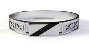 Ασημένιο δαχτυλίδι με obsidian τον πολύτιμο λίθο, τρισδιάστατο Στοκ Εικόνα