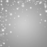 Ασημένιο και άσπρο υπόβαθρο χειμερινών διακοπών με τα αστέρια και snowflakes Στοκ Φωτογραφίες
