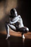 Ασημένιο κορίτσι τέχνης σωμάτων στοκ φωτογραφίες με δικαίωμα ελεύθερης χρήσης