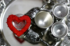 Ασημένιο κόκκινο μορφής καρδιών Στοκ φωτογραφίες με δικαίωμα ελεύθερης χρήσης