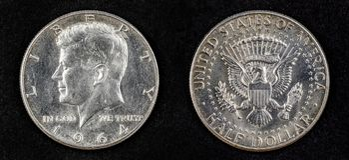 Ασημένιο μισό νόμισμα δολαρίων John Fitzgerald kennedy Στοκ φωτογραφίες με δικαίωμα ελεύθερης χρήσης