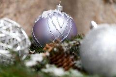 Ασημένιο μπιχλιμπίδι Χριστουγέννων σε ένα δέντρο με το χιόνι Στοκ φωτογραφία με δικαίωμα ελεύθερης χρήσης