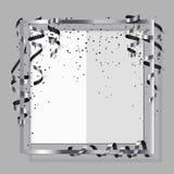Ασημένιο πλαίσιο με την ασημένια και μαύρη κορδέλλα, serpentine, τη σκόνη και τη Λευκή Βίβλο για το ιπτάμενο, αφίσα, για το σημάδ Στοκ εικόνα με δικαίωμα ελεύθερης χρήσης