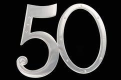 Ασημένιο πλαίσιο φωτογραφιών γενέθλια 50 μαύρο υπόβαθρο απομόνωσης επετείου επιχρυσωμένες ενθεμένες πλαίσιο πέτρες Στοκ Φωτογραφίες