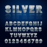 Ασημένιο στιλπνό αλφάβητο Στοκ Φωτογραφίες