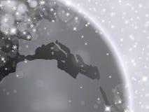 Ασημένιο υπόβαθρο με τη γη, snowflakes, τις φυσαλίδες και το αστέρι Στοκ εικόνες με δικαίωμα ελεύθερης χρήσης