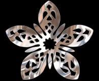 Ασημένιο χειμερινό snowflake σε ένα μαύρο υπόβαθρο Στοκ Φωτογραφία