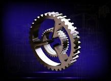 Ασημένιο cogwheel σε ένα μπλε Στοκ Εικόνες