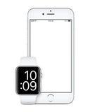 Ασημένιο iPhone της Apple 6s και ασημένια άποψη προτύπων ρολογιών της Apple μπροστινή Στοκ Εικόνες